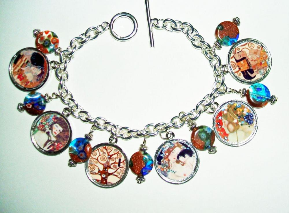 Gustav KLIMT Paintings CHARM BRACELET Tree Of Life Mother and Child The Kiss Altered Art Tribute