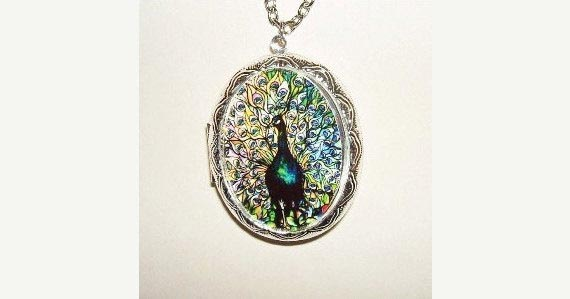 STAINED GLASS PEACOCK Necklace Locket