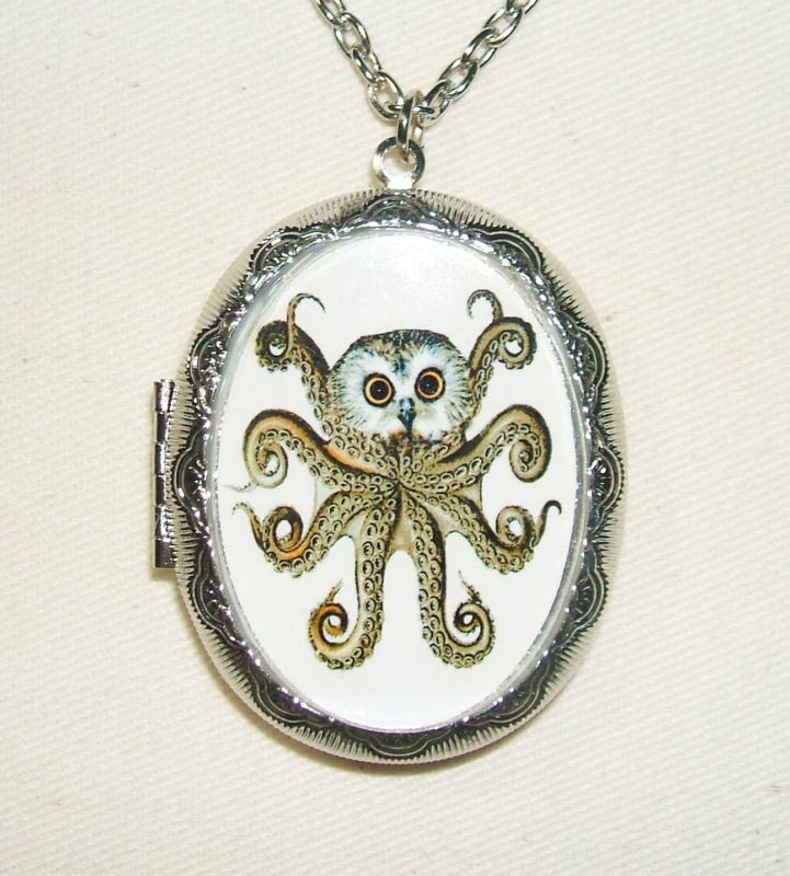 OCTOPUS OWL Necklace Locket OWLCTOPUS Pendant Steampunk Inspired Jewelry