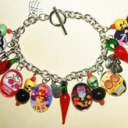 Sugar Skull Day Of The Dead Charm Bracelet Altered Art