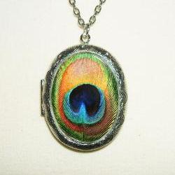 PEACOCK FEATHER Necklace Locket Altered Art Pendant