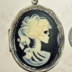 SKELETON Skull Lady CAMEO Pendant LOCKET Necklace