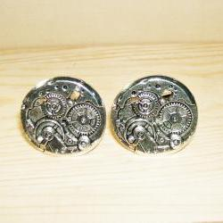 STEAMPUNK GEARS Cuff Links Unisex Men CUFFLINKS Mechanical Gears Silver Plated